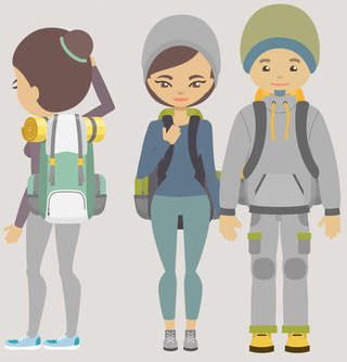 three backpackers vector