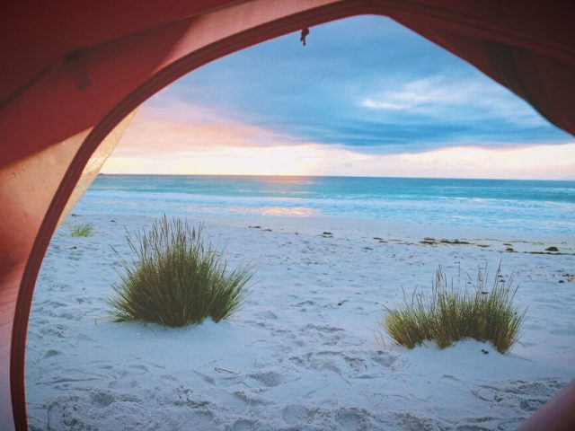 view to ocean from pop up beach tent