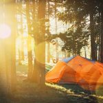 orange camping tent on forest