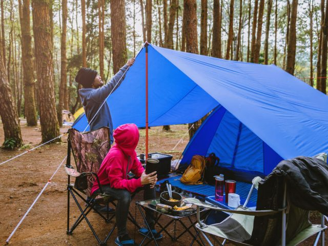 couple of enjoying camping in the forest