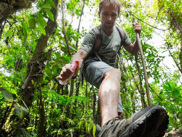 hiker applying mosquito repellent on his leg in tropical forest
