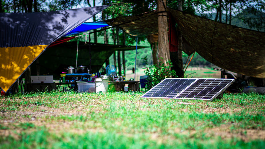 small portble solar panels in campsite